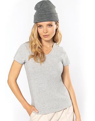 Camiseta con elastán cuello de pico mujer