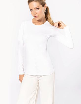 Camiseta con elastán manga larga mujer