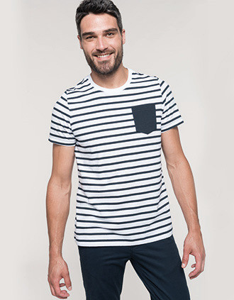 Camiseta Marinero a rayas con bolsillo manga corta
