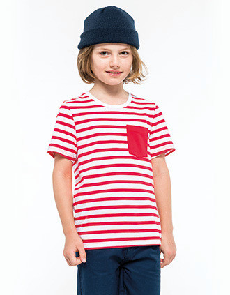 Camiseta Marinero a rayas con bolsillo manga corta para niños