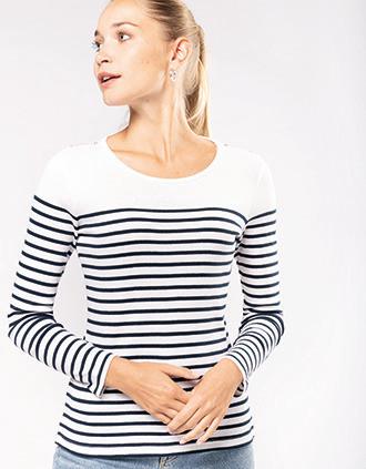 Camiseta marinera de manga larga de mujer