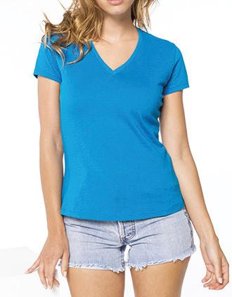 Camiseta con cuello de pico de mujer