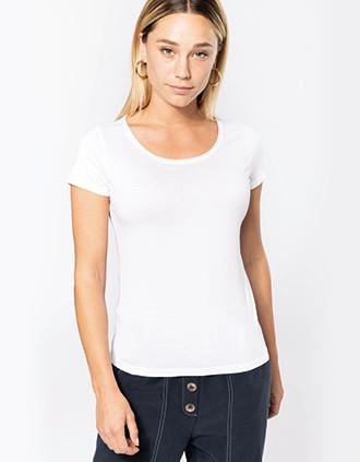 Camiseta orgánica sin costuras en cuello mujer