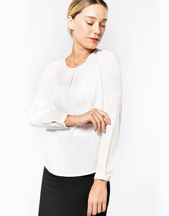 Blusa crepe manga larga mujer