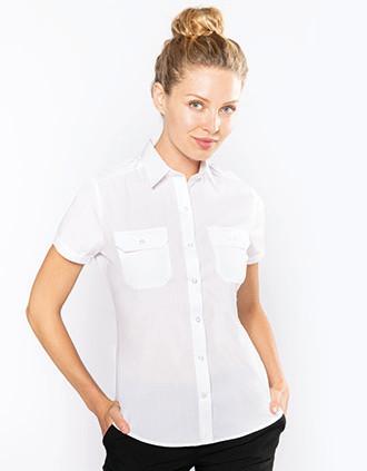Camisa piloto manga corta mujer