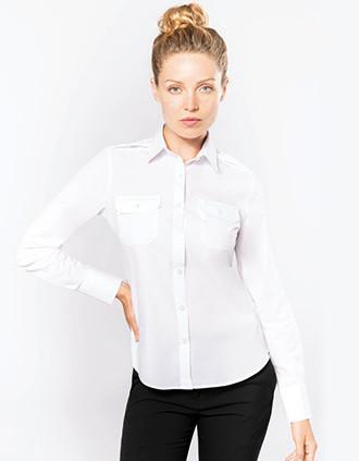 Camisa piloto manga larga mujer