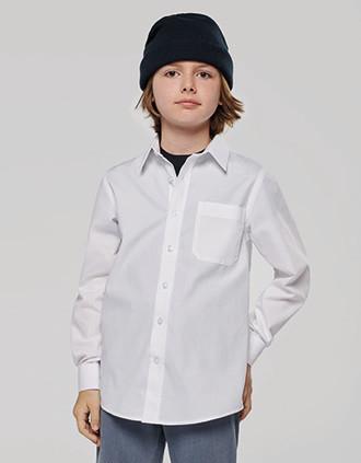 Camisa popelina manga larga niños