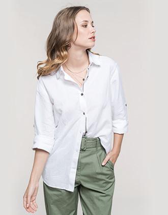 Camisa de lino y algodón de manga larga para mujer