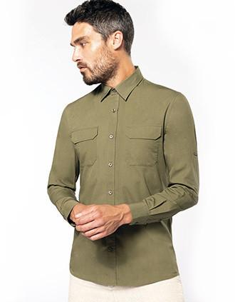 Camisa Safari manga larga hombre
