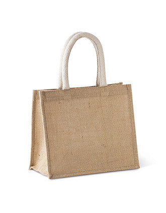 Bolsa estilo cesta de tela de yute, modelo mediano