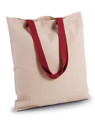 Bolsa de compras en canvas plana y con asa contrastada