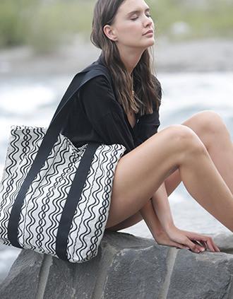 Bolsa de compras reciclada - diseño de olas