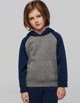 Sudadera bicolor con capucha para niños