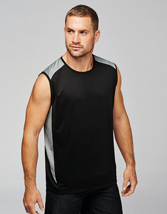 Camiseta deportiva sin mangas bicolor