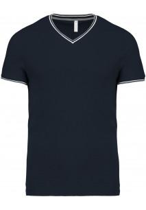 Camiseta de punto piqué con cuello de pico de hombre