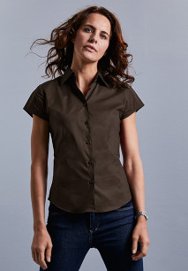 Camisa entallada manga corta mujer