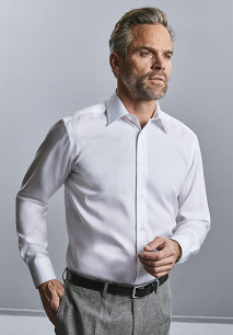 Camisa moderna non-iron manga larga hombre