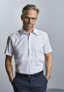 Camisa moderna non-iron manga corta hombre