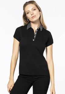 Polo jersey bicolor mujer