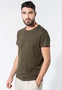 Camiseta de algodón orgánico Manga corta Cuello redondo de hombre