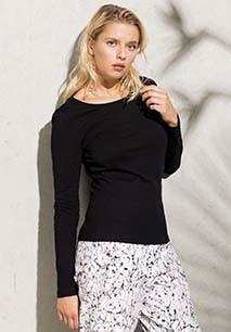 Camiseta de algodón orgánico de manga larga de mujer