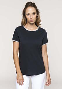 Camiseta de punto piqué con cuello redondo de mujer