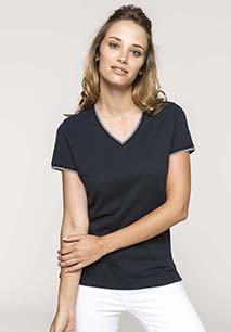 Camiseta de punto piqué con cuello de pico de mujer