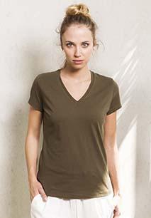 Camiseta de algodón orgánico Manga Corta Cuello de pico