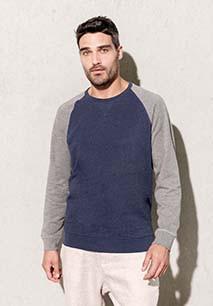 Sudadera Bi-color algodón orgánico Cuello redondo Mangas raglan para hombre