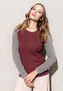 Sudadera Bi-color algodón orgánico Cuello redondo Mangas raglan para mujer