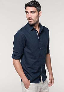 Camisa de lino de manga larga para hombre