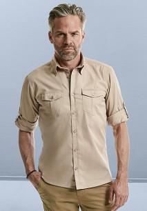 Camisa de Sarga roll-up manga larga hombre