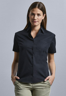 Camisa Popelina de algodón puro manga corta mujer
